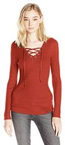 It's Our Time Juniors Rib Long Sleeve V Neck Pullover Sweater