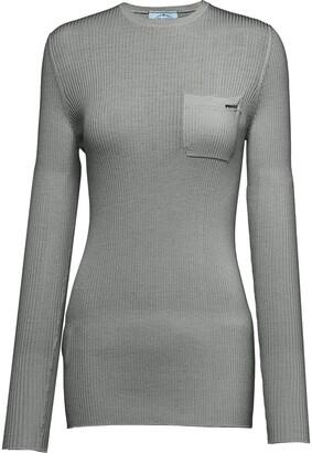 Prada long sleeved pocket T-shirt