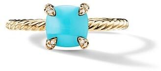 David Yurman Chatelaine Ring with Gemstone & Diamonds in 18K Yellow Gold/7mm
