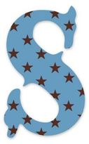 """Wall Candy Arts WallCandy Arts WallCandy Luv Letters Stars Letter """"S"""" Wall Decal in Blue"""