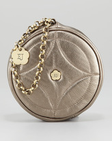 Eric Javits Leather Round Wristlet, Pewter