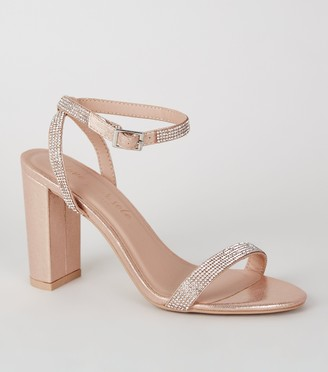 New Look Shimmer Diamante 2 Part Block Heels