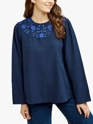 People Tree Keva Floral Embroidered Top, Blue