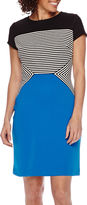 Tiana B Studio 1 Short-Sleeve Colorblock Striped Sheath Dress - Petite