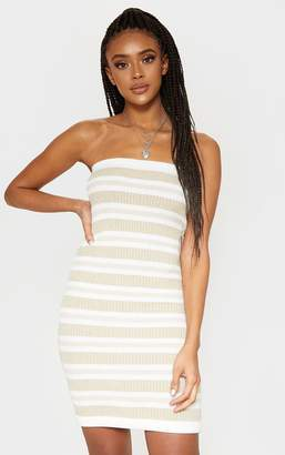 SWAGGER Cream Tonal Striped Knitted Bandeau Dress