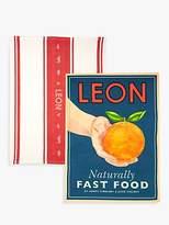 Leon Tea Towels, Orange, Set of 2