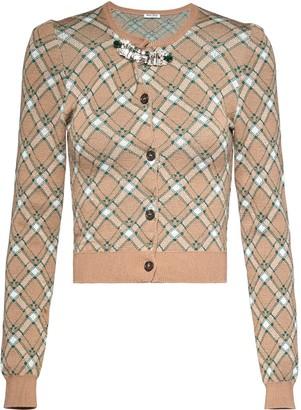 Miu Miu Embellished Checked Cardigan