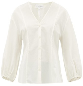 Apiece Apart Concepcion Panelled Cotton-poplin Blouse - Womens - Cream