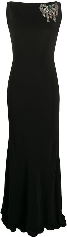 Alexander McQueen Crystal-Embellished Detail Maxi Dress