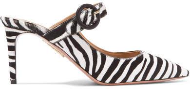 Aquazzura Blossom Zebra-print Calf Hair Mules - Zebra print