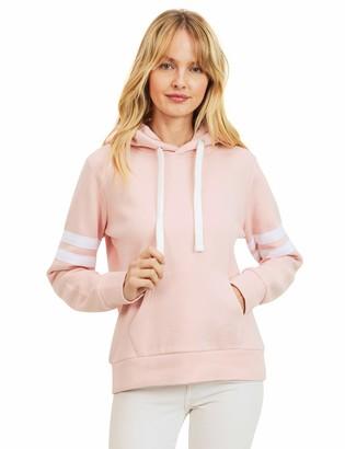 On esstive Women's Ultra Soft Fleece Midweight Casual Stripe Sleeves Varsity Solid Pullover Hoodie Sweatshirt