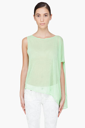 Helmut Lang Green Draped Tank Top