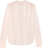 See by Chloe Ruffled Devoré-chiffon Blouse - White
