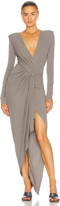 Alexandre Vauthier Gathered Asymmetric Dress in Graphite | FWRD
