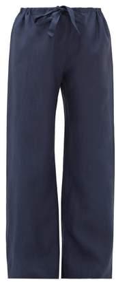 Rossell England - Wide-leg Slubbed-linen Pyjama Trousers - Womens - Navy