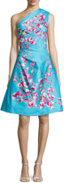 Monique Lhuillier Cherry Blossom One-Shoulder Cocktail Dress, Aquamarine/Multi