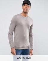 Asos TALL Lightweight Muscle Sweatshirt In Stone