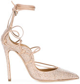 DSQUARED2 crystal-embellished Riri pumps - women - Goat Skin/Lamb Skin/Leather/Glass Fiber - 38