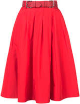 Dice Kayek belted taffeta flared skirt
