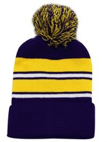 City Hunter Sk908 Stripe Regular Pom Beanie Knit Hat
