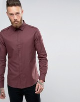 Asos Military Shirt In Fudge With Warm Handle Feel