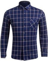 Xi Peng Men's Classic Fleece Lined Thermal Checkered Flannel Shirt