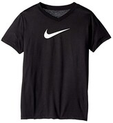 Nike Dry Legend Swoosh V-Neck Tee (Little Kids/Big Kids) (Black) Girl's T Shirt