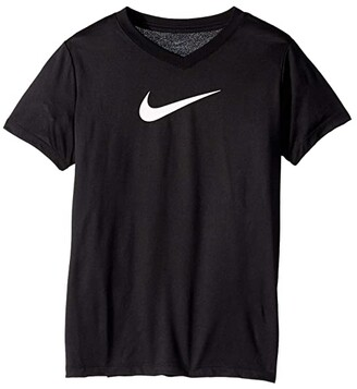 Nike Kids Dry Legend Swoosh V-Neck Tee (Little Kids/Big Kids) (Black) Girl's T Shirt