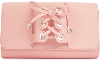 Perrin Paris Le Corset light pink grained leather clutch
