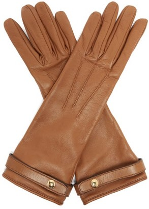 Burberry Leather Gloves - Womens - Brown
