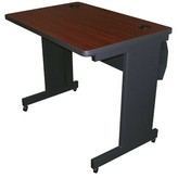 """Priston Mobile Training Table with Lockable Raceway Symple Stuff Size: 29"""" H x 48"""" L x 24"""" W, Tabletop Finish: Mahogany"""