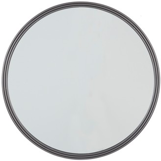 """Willow Row Round Triple Rimmed Silver Metal Wall Mirror - 32"""" X 32"""""""