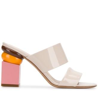 Salvatore Ferragamo Sculpted-Heel Double-Strap Sandals