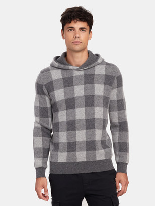 Vince Buffalo Check Cashmere Pullover Hoodie
