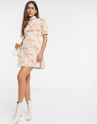 Fashion Union mini dress with high neck and puff sleeve in two tone floral