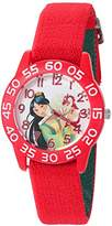 Disney Girl's 'Mulan' Quartz Plastic and Nylon Casual Watch, Color:Red (Model: W002980)
