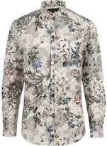 River Island Mens Big and Tall Cream floral print shirt