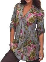 Plus Size Tops Women,Kaifongfu Vintage Floral Print V-neck Tunic Tops Women's Fashion Plus Size Tops (XXL, )