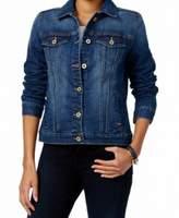 Tommy Hilfiger Womens Embellished Button-Up Denim Jacket