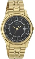 Titan Men's 1713YM04 Contemporary Black Dial Gold Metal Strap Watch