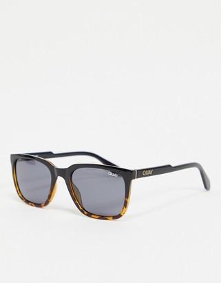Quay Legacy mens retro sunglasses in black to tort fade