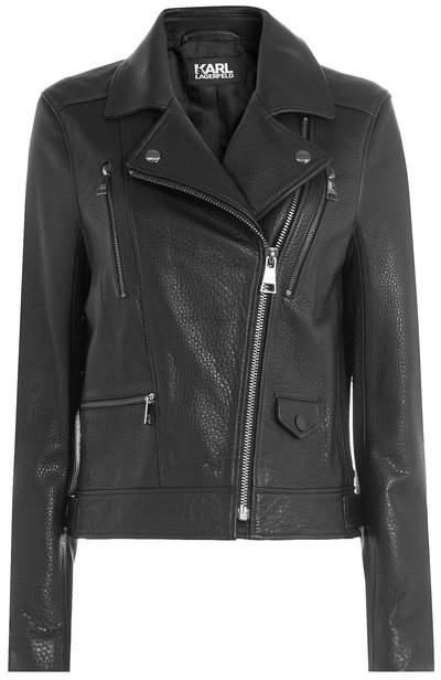 Karl Lagerfeld Leather Biker Jacket with Embossed Motif
