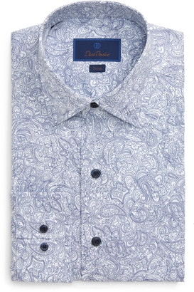 David Donahue Paisley Trim Fit Dress Shirt