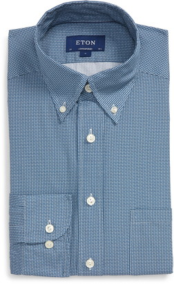 Eton Soft Casual Line Contemporary Fit Micro Print Button-Down Shirt