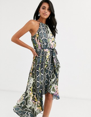 Forever U Collection halter neck wrap tie ruffle dress in multi snake print