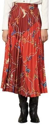 Sandro Cowboy-Print Pleated Midi Skirt