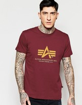 Alpha Industries T-shirt With Logo In Burgundy