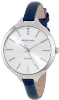 Johan Eric Women's JE2100-04-001.3 Herlev Diamond-Accented Stainless Steel Watch with Blue Leather Band