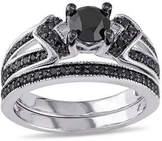 Black Diamond MODERN BRIDE Midnight 1 CT. T.W. Color-Enhanced Sterling Silver Bridal Set