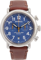 Shinola The Runwell 41mm Chronograph Stainless Steel and Leather Watch